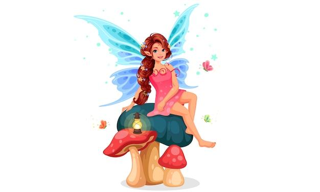 キノコの上に座っている小さな妖精