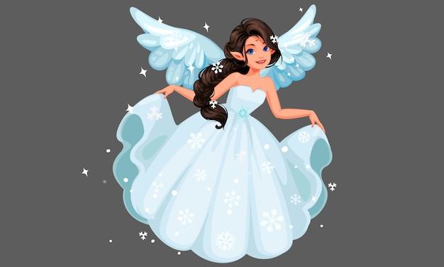 Красивая милая снежная фея летит