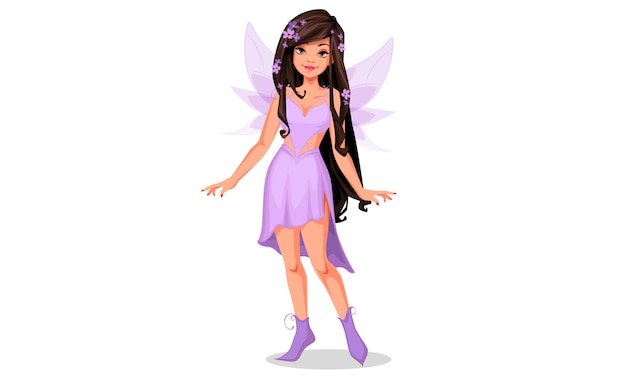 Красивая фея в фиолетовом платье