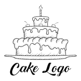 Торт, нарисованный от руки
