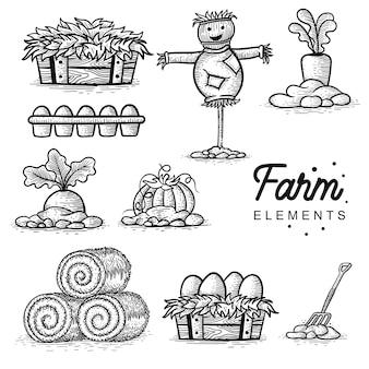 農場の要素手描きのセット