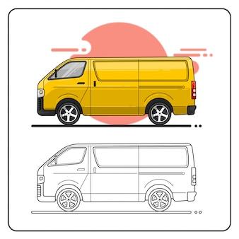 Курьер автомобиль вид сбоку легко редактируемые иллюстрации