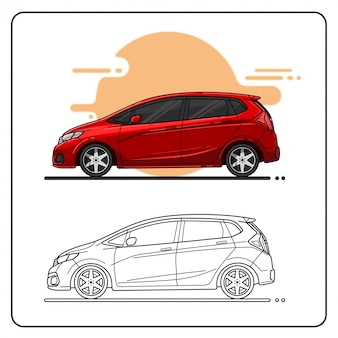 Красный город вид сбоку автомобиля легко редактируемый