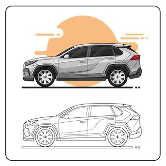 Серебряный автомобиль вид сбоку легко редактируемый