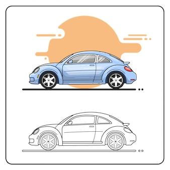 現代の車の側面図