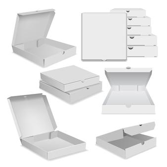 Реалистичные иллюстрации иконок упаковки пиццы для веб-сайтов