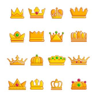 Набор иконок корона золото