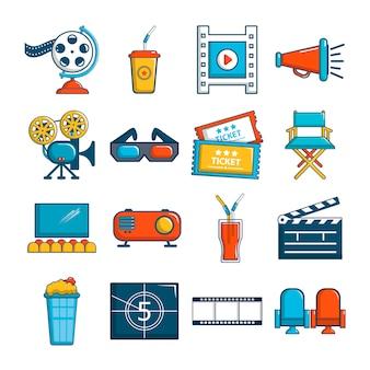 映画館のアイコンセットのシンボル