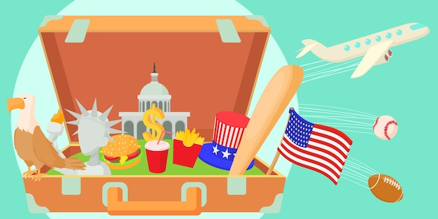 アメリカ旅行水平バナーのコンセプト