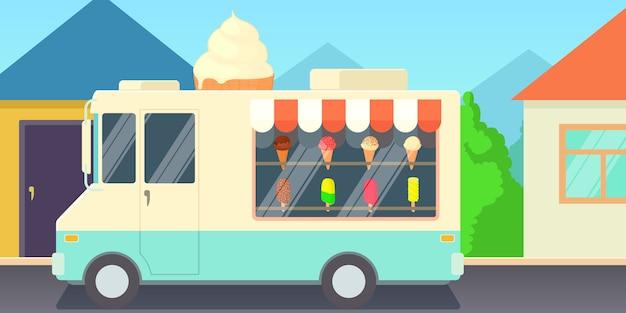 Мороженое горизонтальный баннер концепт магазин