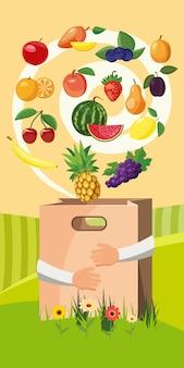 食品垂直背景のコンセプトです。
