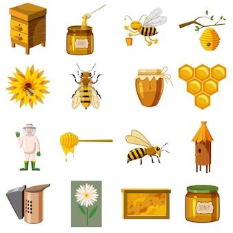 養蜂場のアイコンセット、漫画のスタイル
