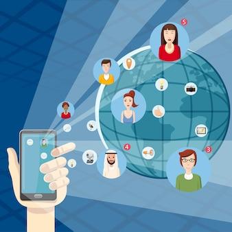 Маркетинговые технологии концепции мобильного. иллюстрация шаржа концепции вектора технологии маркетинга для сети