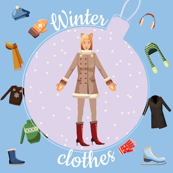 Концепция зимней одежды, мультяшный стиль