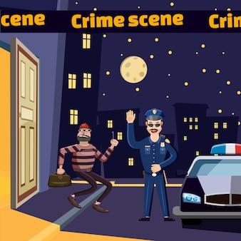 犯罪現場は泥棒の概念を捕まえる。犯罪現場の漫画イラスト、泥棒を捕まえる