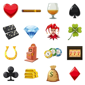 カジノのアイコンセットシンボル、漫画のスタイル