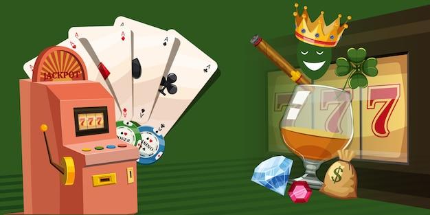 カジノギャンブルの水平方向の背景