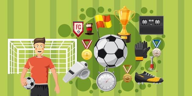 サッカープレイの水平方向の背景
