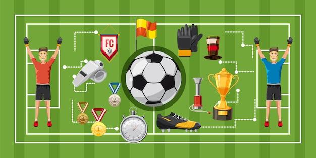 サッカーゲームサッカーの水平方向の背景
