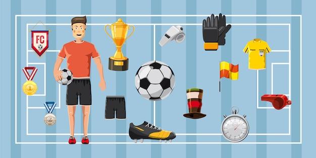 サッカーチャンピオンの水平方向の背景