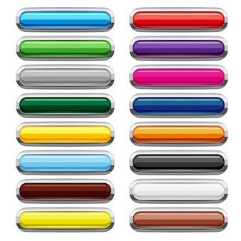 Набор иконок кнопки пустой прямоугольник, мультяшном стиле