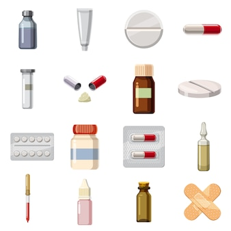 Набор иконок типов лекарств медицины, мультяшном стиле