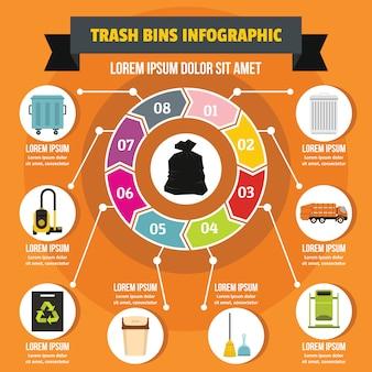 ゴミ箱インフォグラフィックコンセプト、フラットスタイル