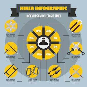 Концепция ниндзя инфографики, плоский стиль