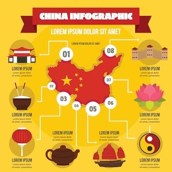 Китай инфографики концепция, плоский стиль