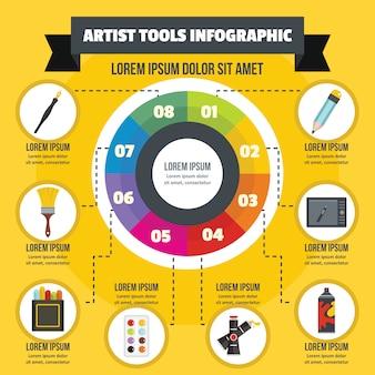 アーティストツールインフォグラフィックコンセプト、フラットスタイル