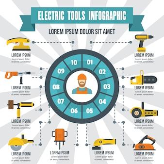 電動工具インフォグラフィック、フラットスタイル