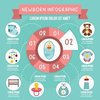 新生児インフォグラフィックコンセプト、フラットスタイル