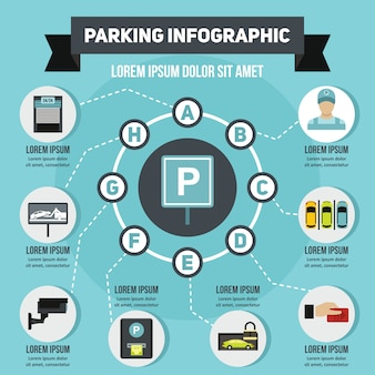 駐車場インフォグラフィックコンセプト、フラットスタイル