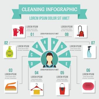Концепция очистки инфографики, плоский стиль