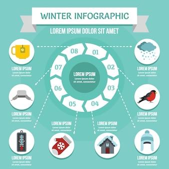 冬のインフォグラフィックコンセプト、フラットスタイル