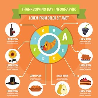 感謝祭の日のインフォグラフィックコンセプト、フラットスタイル