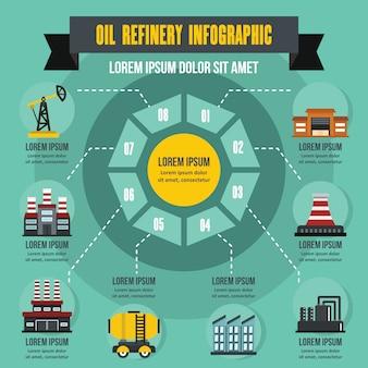 製油所インフォグラフィックコンセプト、フラットスタイル