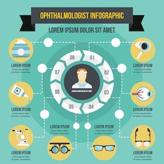 眼科医インフォグラフィックコンセプト、フラットスタイル