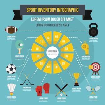 スポーツ在庫インフォグラフィックテンプレート、フラットスタイル