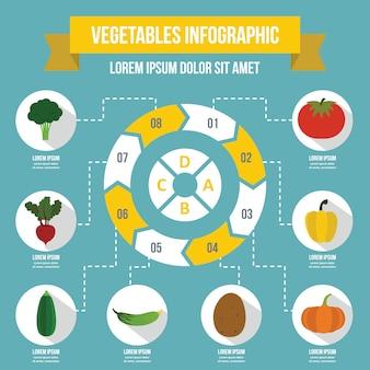 野菜インフォグラフィックテンプレート、フラットスタイル