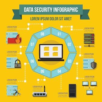 データサービスインフォグラフィックテンプレート、フラットスタイル