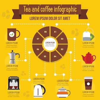 紅茶とコーヒーのインフォグラフィックコンセプト、フラットスタイル