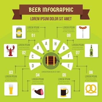 ビールインフォグラフィックコンセプト、フラットスタイル