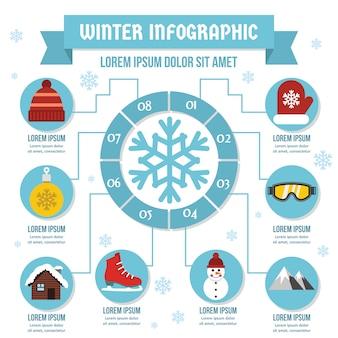 Зимняя инфографика концепция, плоский стиль