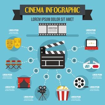 Кино инфографики концепция, плоский стиль