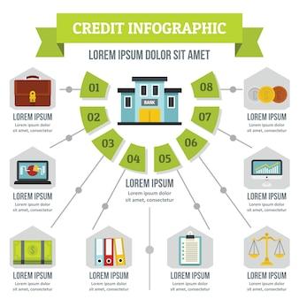 クレジットインフォグラフィックコンセプト、フラットスタイル