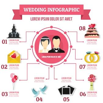 結婚式のインフォグラフィックテンプレート、フラットスタイル