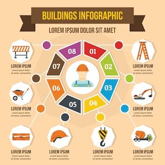 建物のインフォグラフィックコンセプト、フラットスタイル