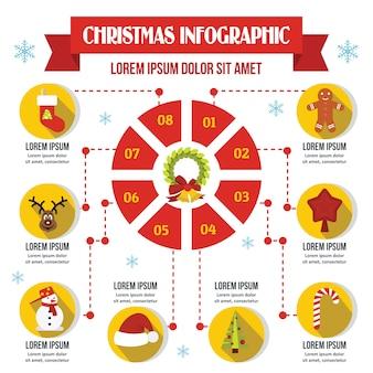 クリスマスインフォグラフィックテンプレート、フラットスタイル