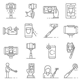 Селфи значок набор. наброски набор селфи векторных иконок